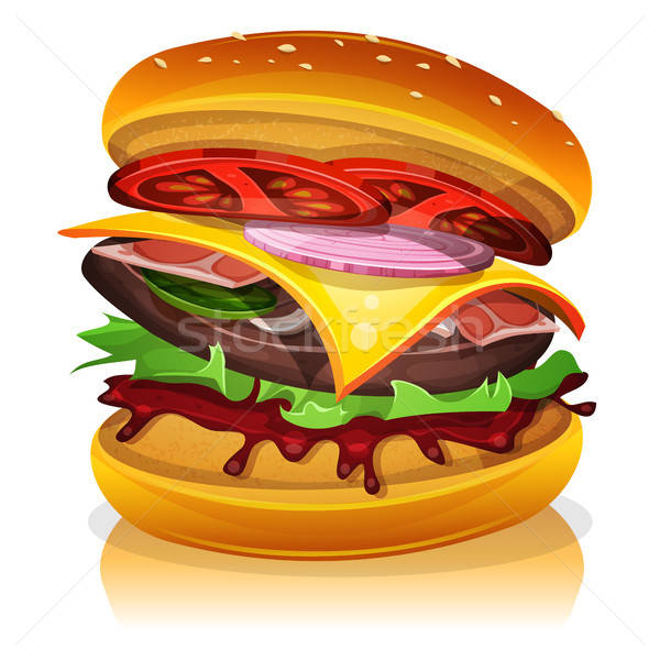 Groot spek hamburger illustratie ontwerp icon Stockfoto © benchart