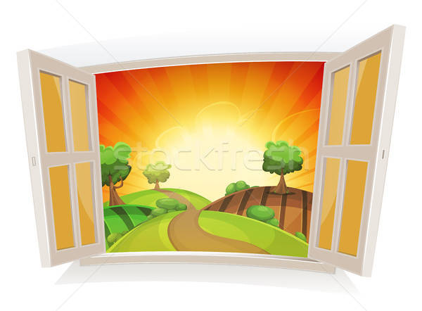 Open Window On A Summer Rural Landscape Stock photo © benchart