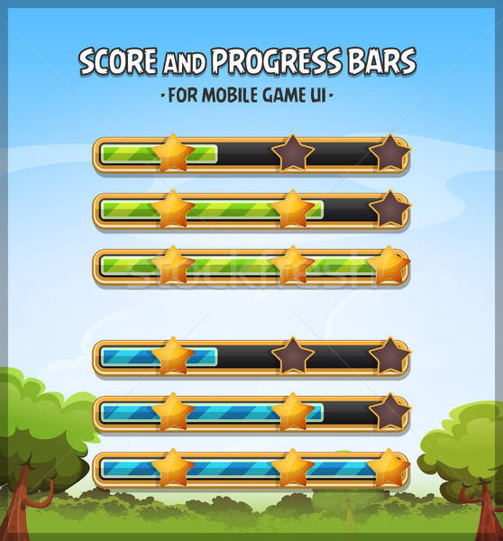 Stock photo: Score And Progress Bars For Game Ui