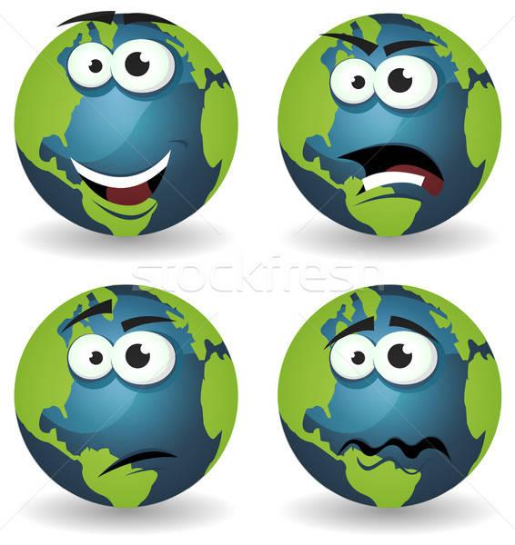 Karikatur Erde Symbole Emotionen Illustration Set Stock foto © benchart