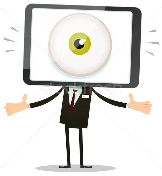 Big Brother Eye In Mobile Phone Head Stock photo © benchart