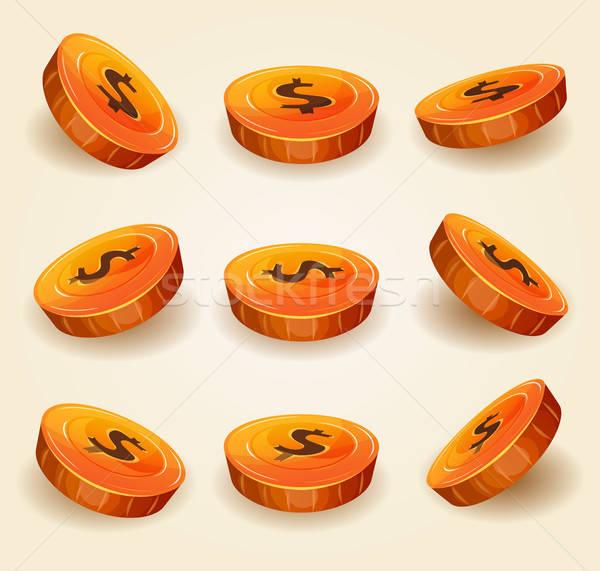 Dollar Coins Set For Game Ui Stock photo © benchart