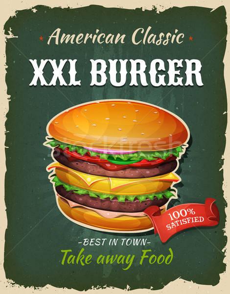 レトロな ファストフード 王 サイズ ハンバーガー ポスター ストックフォト © benchart