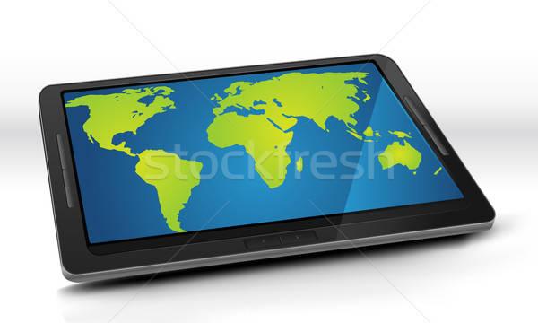 World Map On Tablet PC Stock photo © benchart