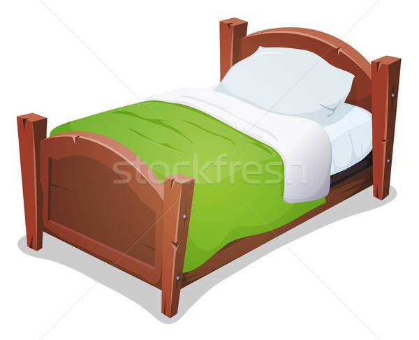 Hout bed groene deken illustratie cartoon Stockfoto © benchart