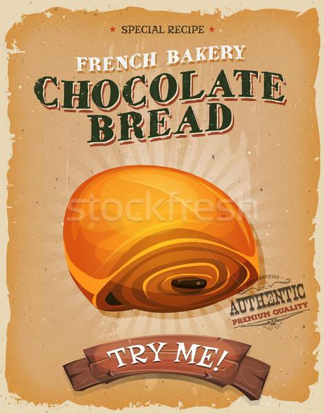 Гранж Vintage шоколадом хлеб плакат иллюстрация Сток-фото © benchart
