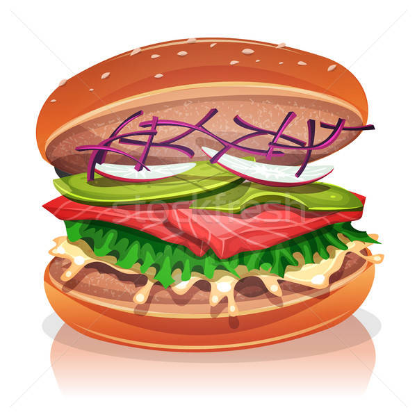 Vegetarian Burger With Salmon Fish Stock photo © benchart