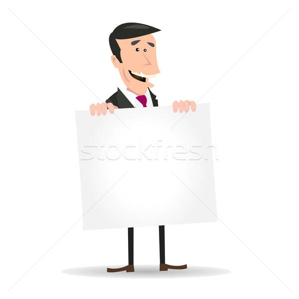 White Businessman Holding A Blank Sign Stock photo © benchart