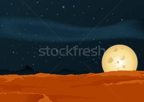 пустыне пейзаж иллюстрация плакат свет луна Сток-фото © benchart