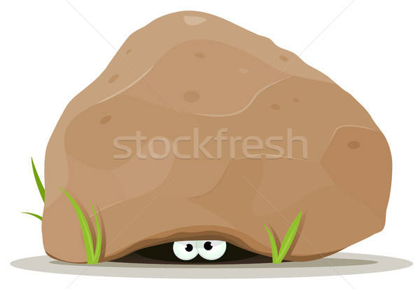 Cartoon Animal Eyes Under Big Stone Stock photo © benchart