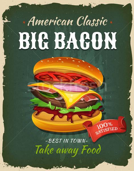 ретро быстрого питания бекон Burger плакат иллюстрация Сток-фото © benchart