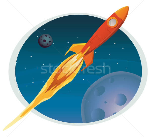 Spaceship Flying Through Space Banner Stock photo © benchart