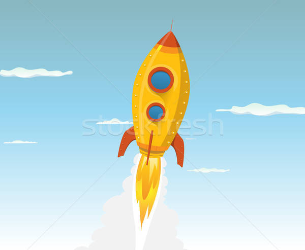 Cartoon Gold Space ship Stock photo © benchart