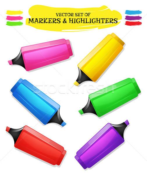 Highlighters And Felt Tip Pen Set Stock photo © benchart