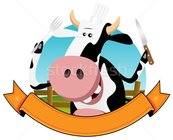 Cartoon Cow Banner Stock photo © benchart