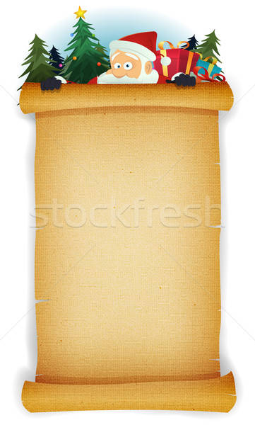Papá noel detrás pergamino ilustración Cartoon feliz Foto stock © benchart
