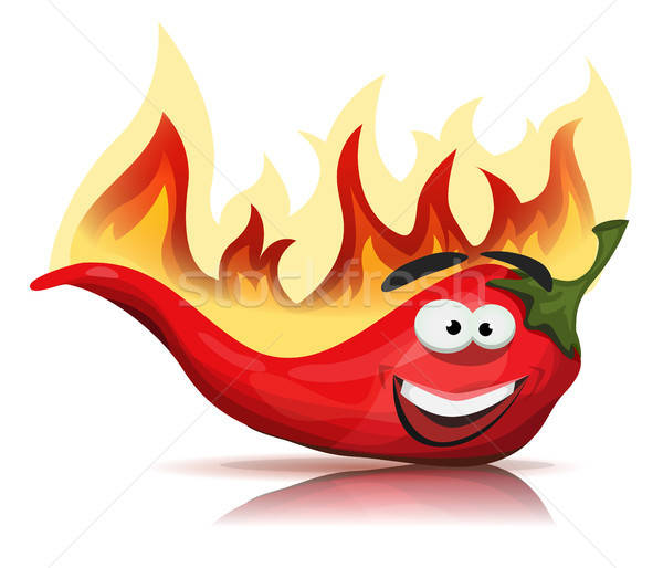 Red Hot Chili Pepper Character With Burning Flames Stock photo © benchart
