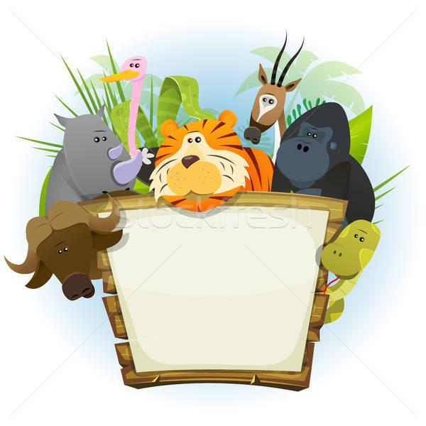Wild Animals Zoo Wood Sign Stock photo © benchart