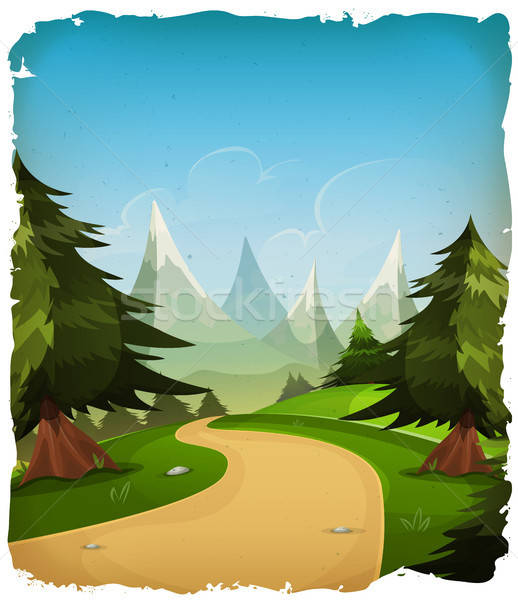 Cartoon Mountains Landscape Background Stock photo © benchart