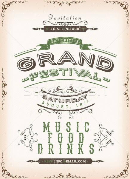 Vintage festival anunciante ilustración invitación dibujado a mano Foto stock © benchart