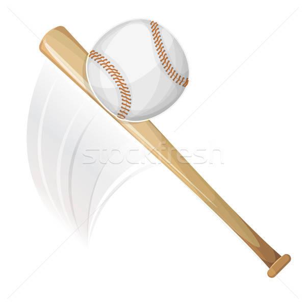Baseball ütő labda illusztráció amerikai fa felirat Stock fotó © benchart