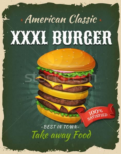 Retro fast food koning maat hamburger poster Stockfoto © benchart
