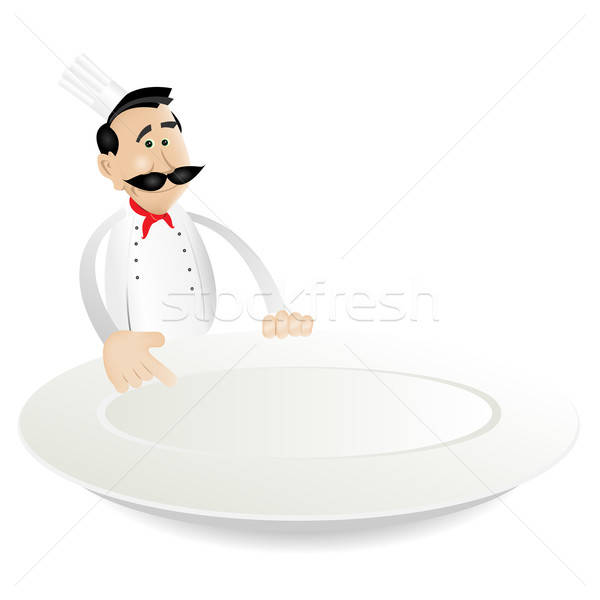 Chef Menu Holding Dish Stock photo © benchart