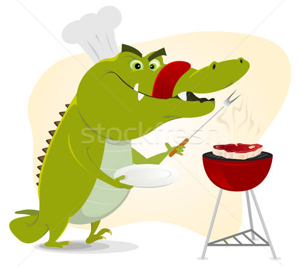 Cartoon crocodile bbq illustration fête heureux Photo stock © benchart