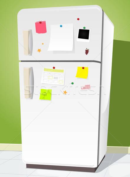 Fridge With Notes Stock photo © benchart