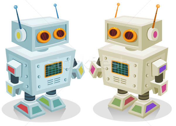 Robot jouet enfants illustration couple cute Photo stock © benchart
