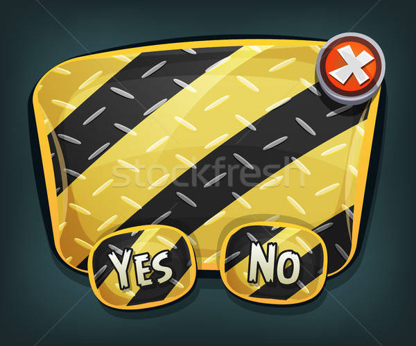 Cartoon Emergency Sign With Buttons For Ui Game Stock photo © benchart