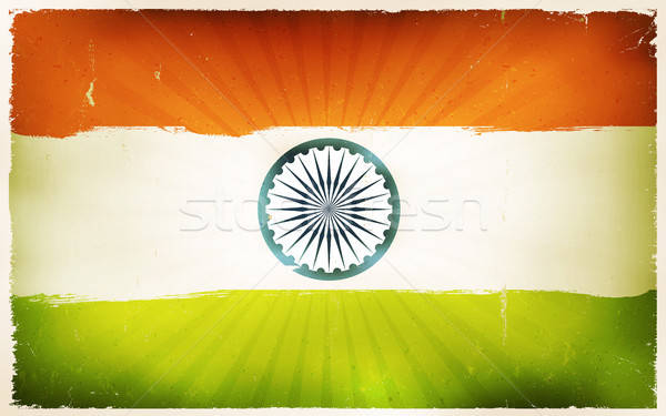 Vintage India Flag Poster Background Stock photo © benchart