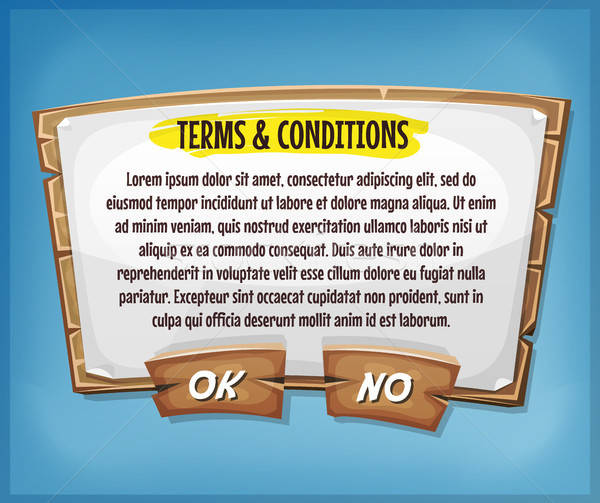 Wood Terms And Conditions Agreement Panel For Ui Game Stock photo © benchart