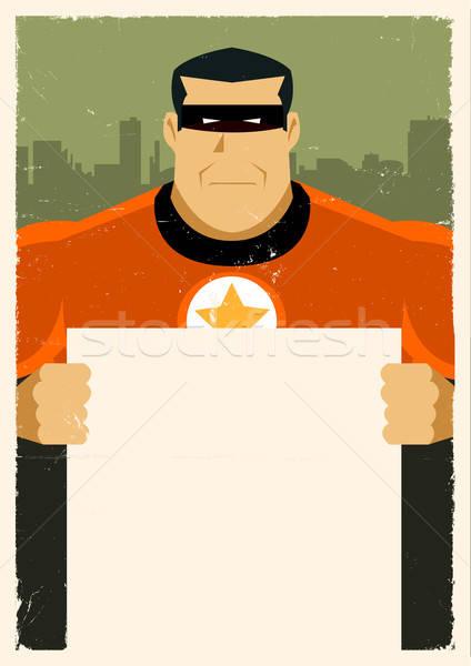 Grunge Urban Super Hero Ad Sign Stock photo © benchart