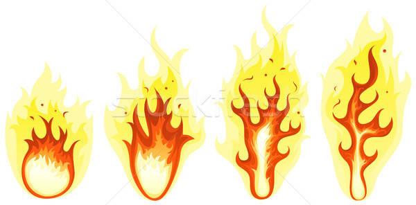 Cartoon Fire And Burning Flames Set Stock photo © benchart