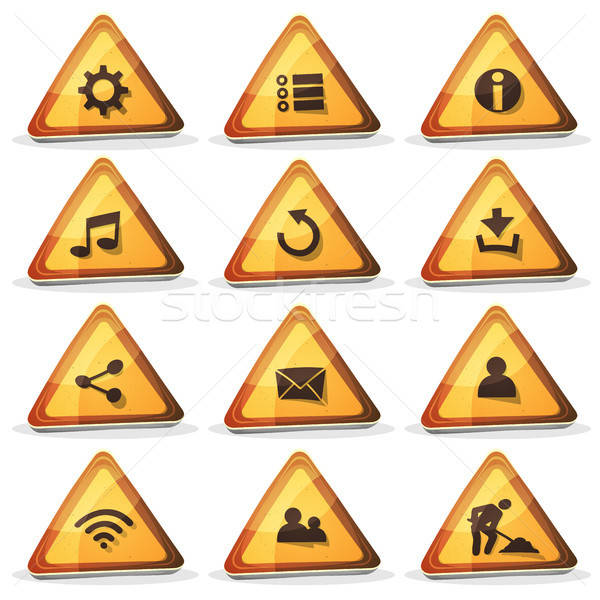 Web And Road Sign Icons And Buttons For Ui Game Stock photo © benchart