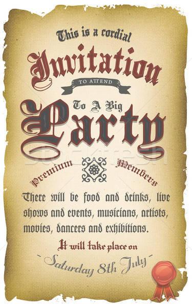 Vintage Old Medieval Invitation Poster Stock photo © benchart