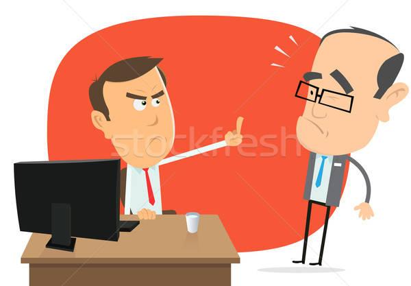Zły szef ilustracja cartoon biznesmen Zdjęcia stock © benchart