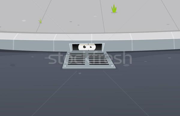 Eyes Spying Inside Pavement Gutter Hole Stock photo © benchart