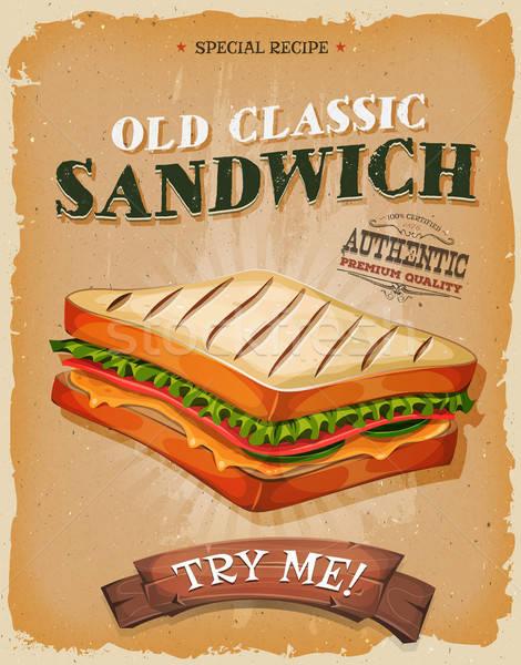 Grunge vintage sandwich poster illustrazione design Foto d'archivio © benchart