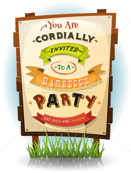 Barbecue Party Invitation On Wood Sign Stock photo © benchart