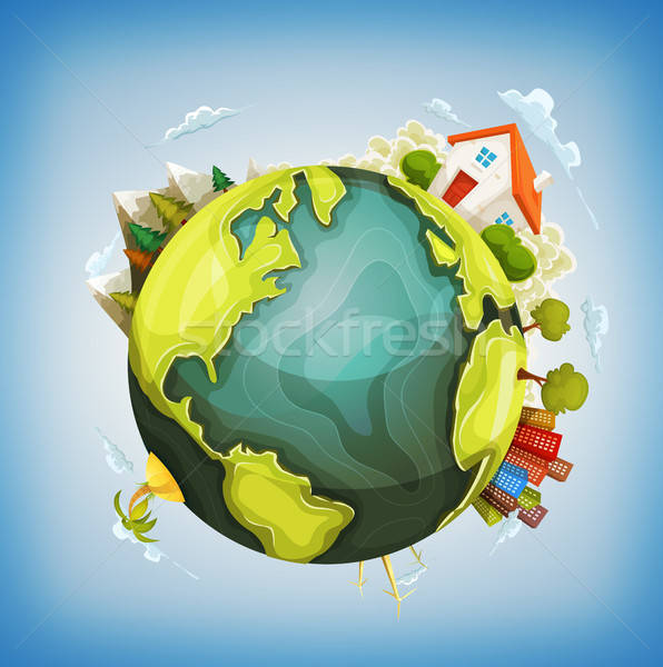 Earth Planet With Home, Nature And City Around Stock photo © benchart