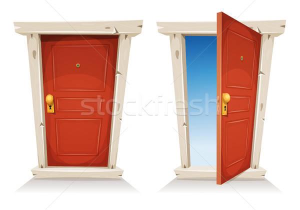 Red Door Open And Closed Stock photo © benchart