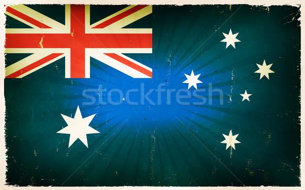Foto stock: Vintage · bandera · anunciante · ilustración · horizontal · australiano