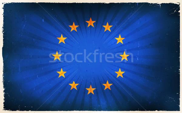 Vintage European Union Flag Poster Background Stock photo © benchart