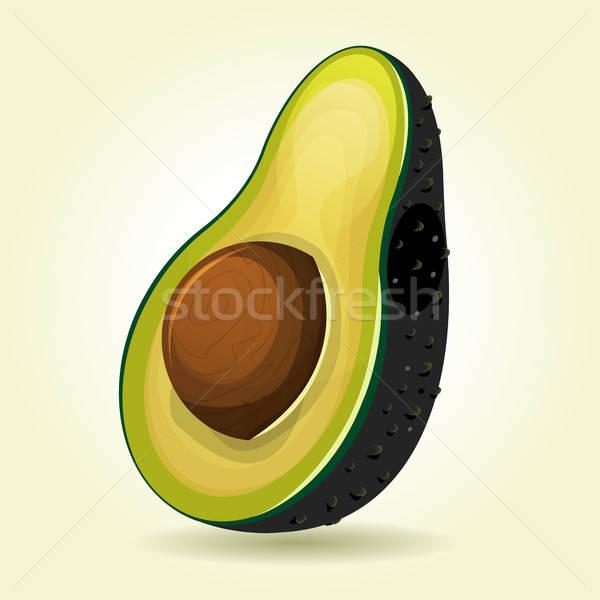 Rajz szelet avokádó illusztráció étvágygerjesztő gyümölcs Stock fotó © benchart