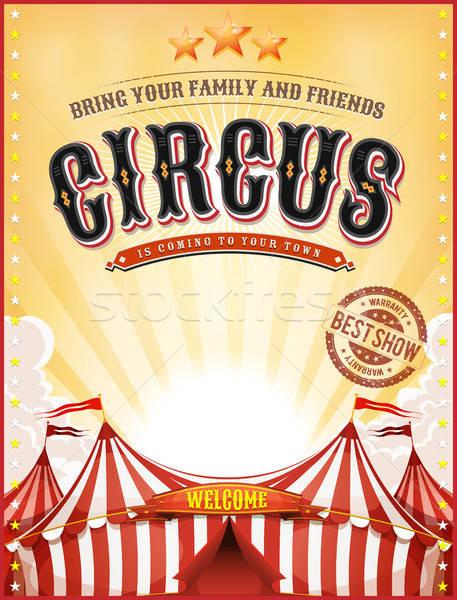 Vintage Summer Circus Poster With Big Top Stock photo © benchart