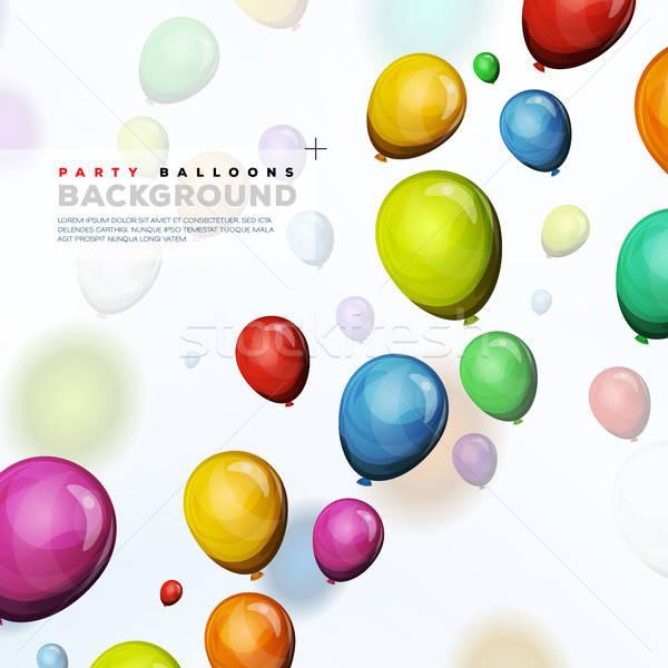 Flying гелий шаров иллюстрация дизайна аннотация Сток-фото © benchart