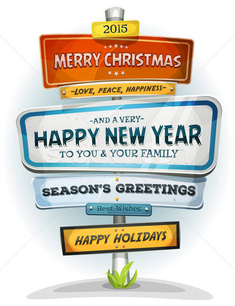 Merry Christmas And Happy New Year On Urban Signpost Stock photo © benchart