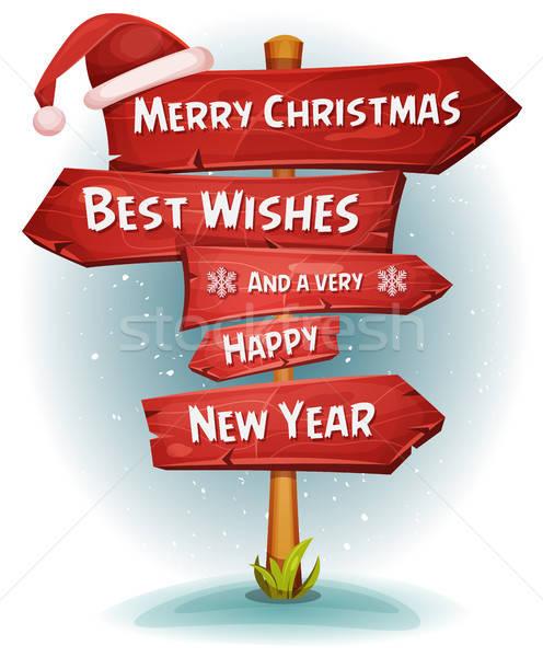 Vidám karácsony fa jelzőtáblák nyilak illusztráció Stock fotó © benchart